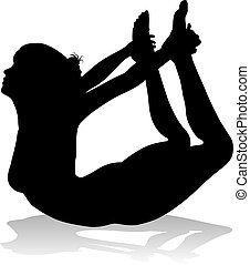 Yoga Pilates Pose Woman Silhouette
