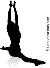 Yoga Pilates Pose Woman Silhouette - A silhouette of a woman...