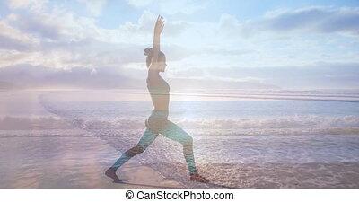 yoga, plage, 4k, femme
