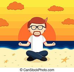 yoga, plage, homme affaires