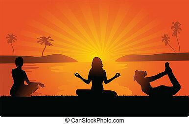 yoga, plage