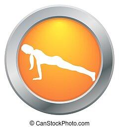Yoga Plank Pose Orange Icon