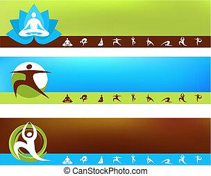 yoga, plano de fondo, plantillas
