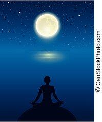 yoga, pleine lune, ciel, méditer, personne, océan, étoilé, silhouette
