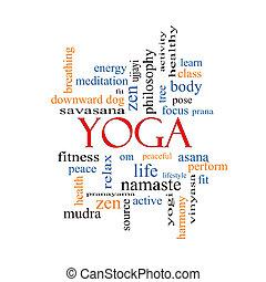 yoga, pojęcie, słowo, chmura