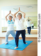 Yoga - Portrait of two aged females doing yoga exercise in...