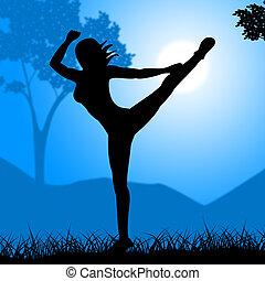 yoga, posar, medios, postura, baile, y, zen