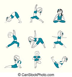 Yoga pose asana set , vector isolated on white background