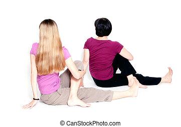 "sitting half spinal twist - Yoga pose called ""sitting half..."