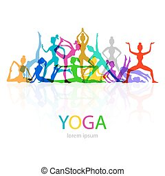 yoga, pose, donna, silhouette