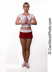 Yoga pose - Full body of an attractive blond woman wearing ...
