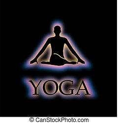 Yoga pose glowing in dark