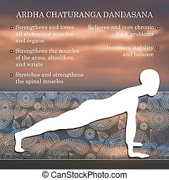Yoga pose infographics, benefits of practice Ardha...