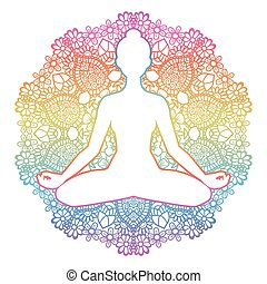 yoga, pose., loto, silhouette., padmasana., donne