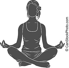 Woman meditating. Lotus yoga pose Fitness. Vector illustration