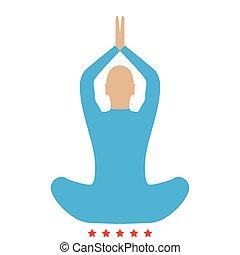 Yoga pose of woman icon . Flat style