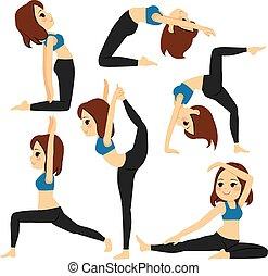 yoga, pose, ragazza, set, addestramento