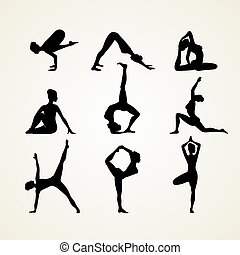 yoga, pose, silhouette