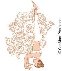 yoga, pose., sirsasana, headstand, treppiede, silhouette., 2...