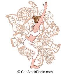 yoga, pose., utkatasana., silhouette., stoel, vrouwen