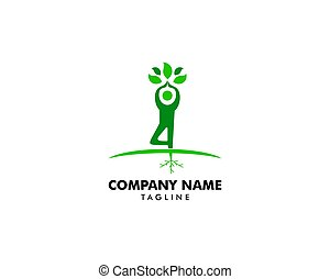 yoga easy pose tree logo vector
