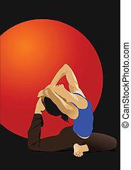Yoga pose - vector poster