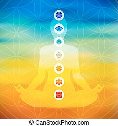 Body silhouette doing yoga lotus pose with chakra icons on flower of life sacred geometry, colorful blurred background. EPS10 vector.