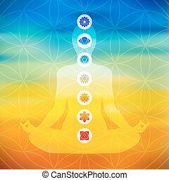 Yoga pose with chakra icons - Body silhouette doing yoga ...