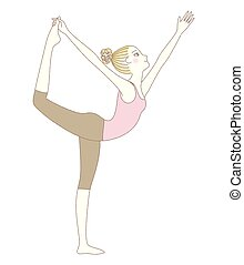 Yoga pose, woman in Lord of the Dance Pose