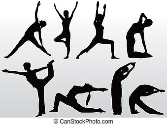 yoga pose women silhouette