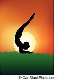 Yoga poses at dusk