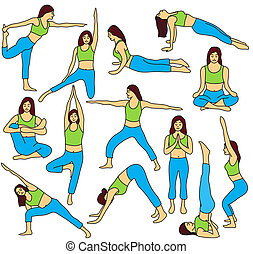 Yoga poses collection - colored vector illustration - Yoga...
