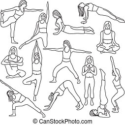 Yoga poses collection - vector