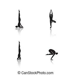 Yoga poses drop shadow black icons set