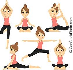 yoga, poses, femme, divers