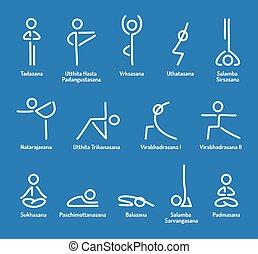 Yoga poses icons - Simple stylized yoga poses icon set....