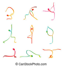 illustration of icons showing different yoga poses on isolated background