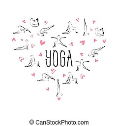 Yoga poses in shape of a heart. Ideal for greeting cards, wall decor, textile design and much more.