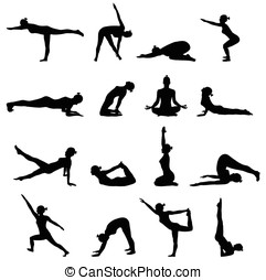 Yoga poses isolated on white background