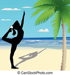 Yoga poses on the beach