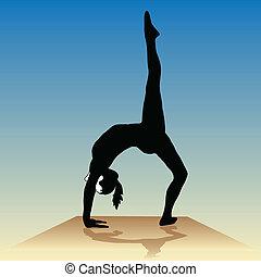 Yoga - poses on the podium