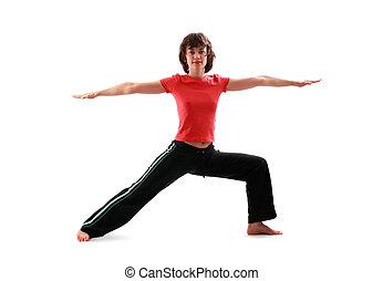 Yoga poses series. The warrior pose II. Virabhadra II....