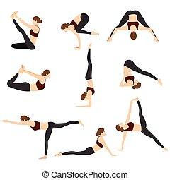 Yoga Poses Set Vector Illustration on White Background