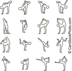 Yoga poses set vector illustration outline sketch hand drawn with black lines isolated on white background