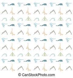 Yoga poses silhouette background on white