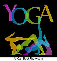 yoga, poses, silhouette