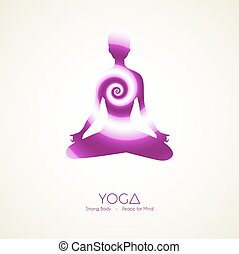 yoga, poses, silhouette, femme