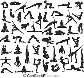 Yoga Poses Silhouettes - A set of detailed yoga poses and...