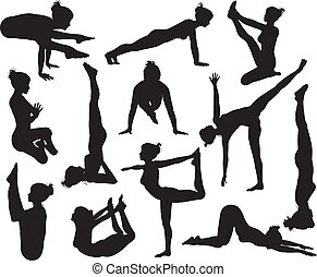 Yoga poses silhouettes - A set of highly detailed high...