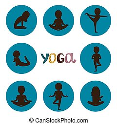 Yoga poses silhouettes icons vector of set